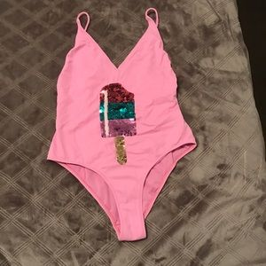 Topshop sequin popsicle one piece swimsuit